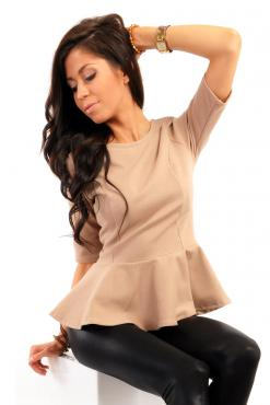 Crew Neck Seamed Frill Hem Coffee Top