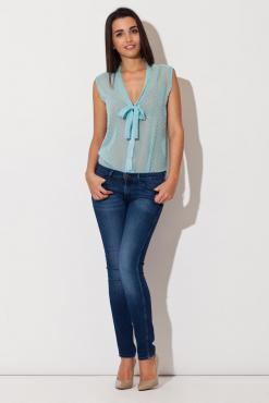 Sea Blue Dreamy Speckles Summer Sheer Blouse