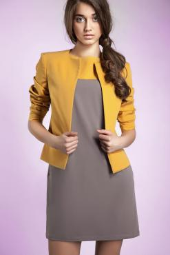 Yellow Front Open Jacket with 3/4 Sleeves