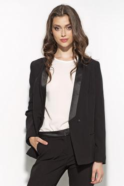 Black Stunning Single Breasted Coat With Satin Collar