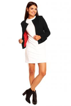 Black Collarless Cropped Jacket for Women