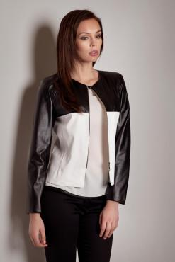 Leather Panel Semi Zipper Fastening Crop Ecru Jacket