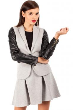 Shawl Collar Flecked Grey Coat with Contrast Stretch Sleeves
