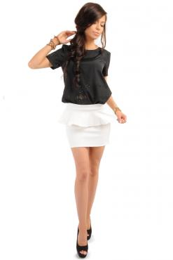White Tiered Mini Skirt with Back Gold Zip Fastening