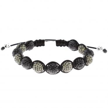 Nialaya Armband Black Grey Crystal Men