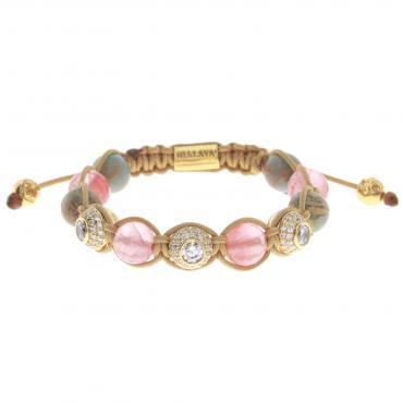 Nialaya Armband Gold Beige Rose Quartz Ladies