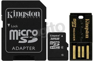 Kingston microSD 32 GB Class 4 + adapter + czytnik USB (MBLY4G2/32GB)