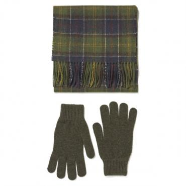 Barbour Scarf and Glove Gift Box Set - Classic/Olive