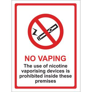 Vaping Prohibited Sign