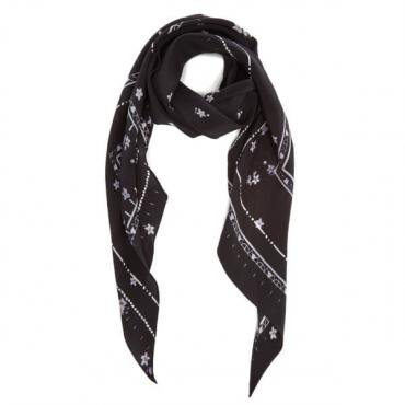 Rockins Women's Night Flower Classic Skinny Scarf - Black