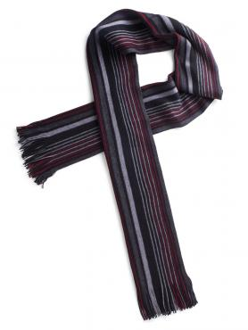 Scott & Taylor Red Grey Stripe Scarf 0 RED