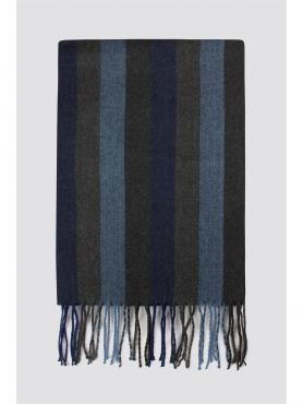Limehaus Blue Herringbone Stripe Scarf 0 Blue