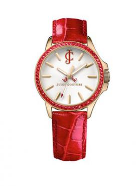 Ladies Jetsetter Red Leather Strap, Gold-Plated Case, White Dial And Red Crystal-Set Bezel Watch