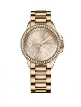 Ladies Jetsetter Gold Plated With Crystal-Set Bezel Watch
