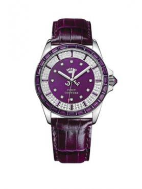Ladies Stella Purple Leather Strap And Crystal-Set Dial Watch