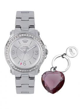 Ladies Pedigree Stainless Steel And Crystal-Set Bezel Watch Including Pink Heart Key Ring